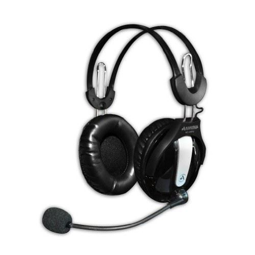 Andrea Communications NC-250 Circumaural Stereo PC Headset with Noise Canceling Microphone, Volume Control, Dual 3.5mm Plugs