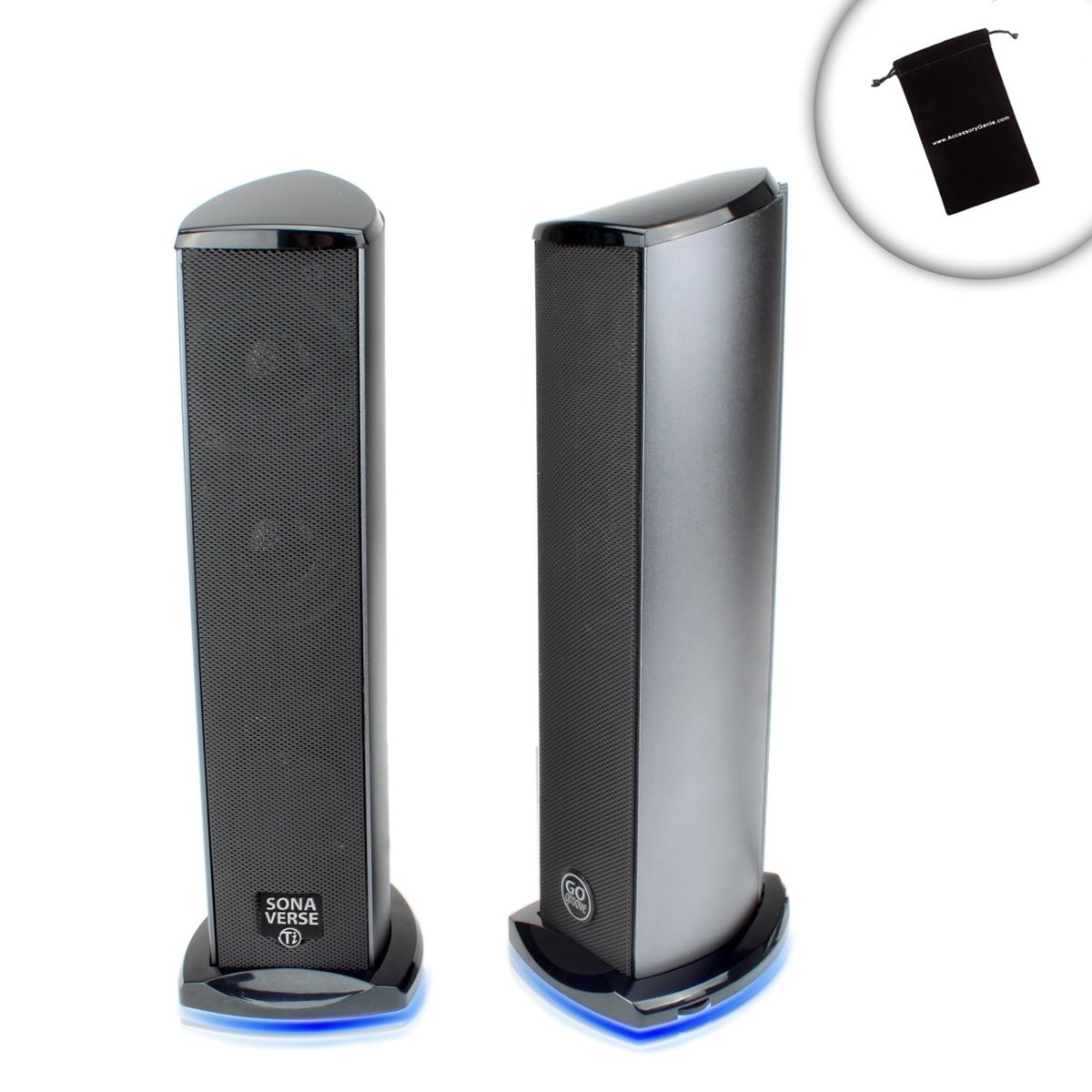 GOgroove USB PC Computer Speakers with Powerful Subwoofer Blue LED Lights and Aluminum Bodies