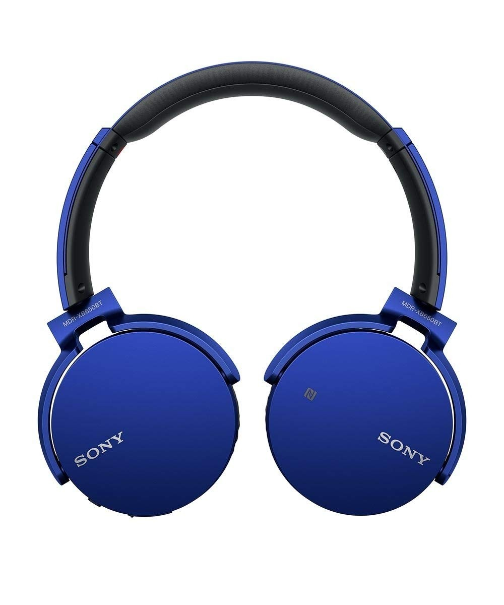 Sony MDR XB650BT Bluetooth Wireless Over-Ear Headphones with Mic and NFC - Blue