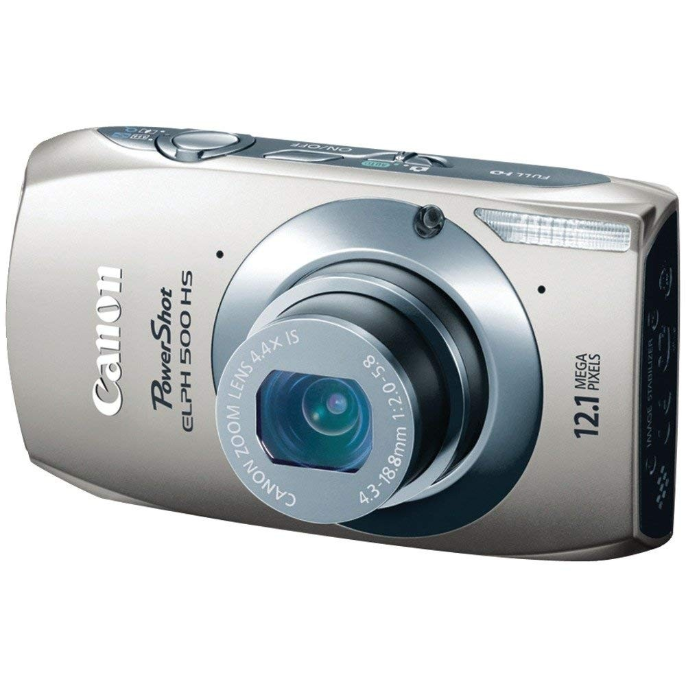 Canon PowerShot ELPH 500 HS 12.1 MP CMOS Digital Camera with Full HD Video and Ultra Wide Angle Lens (Silver)