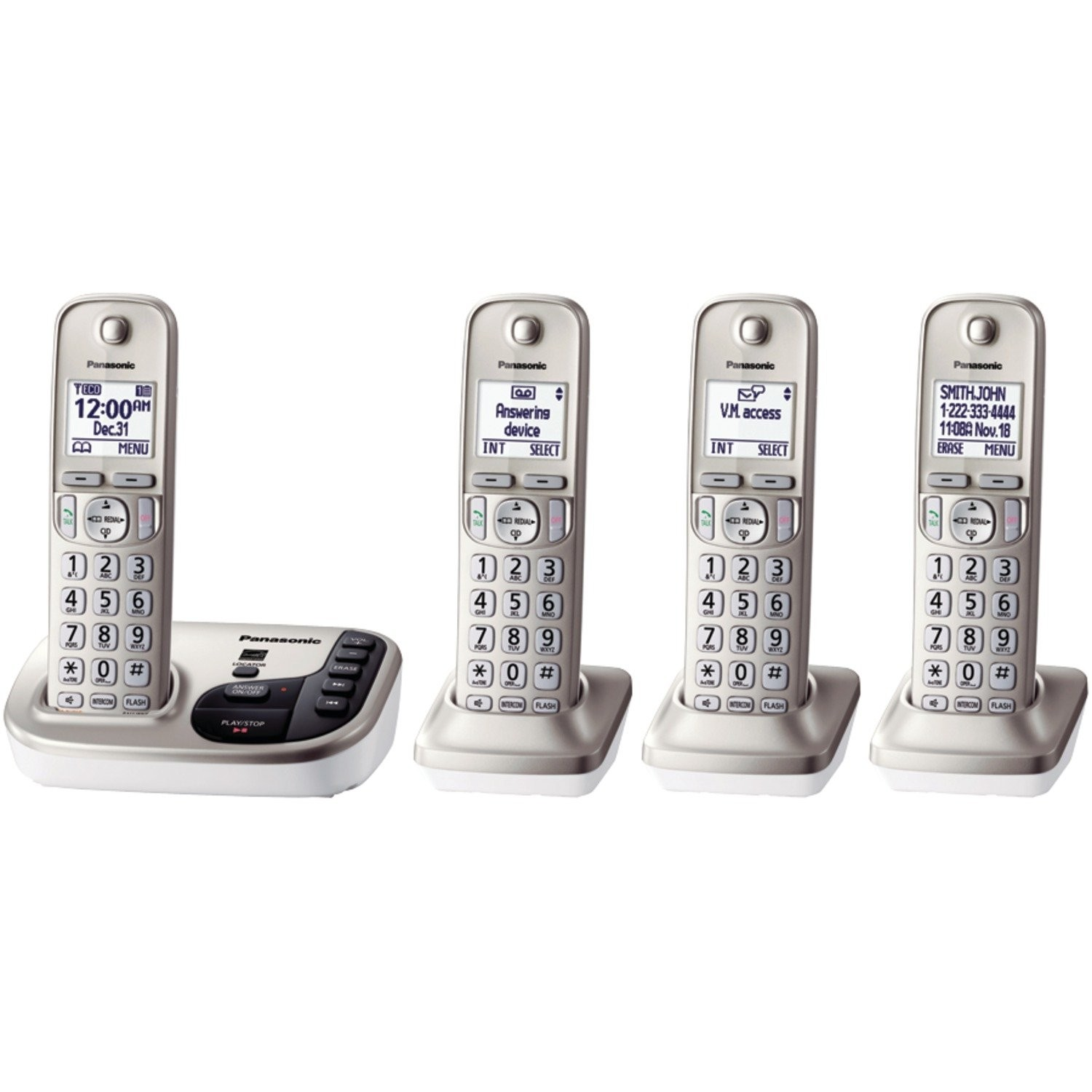 Panasonic KX-TGD224N Expandable Cordless Phone with 4 Handsets, Silver