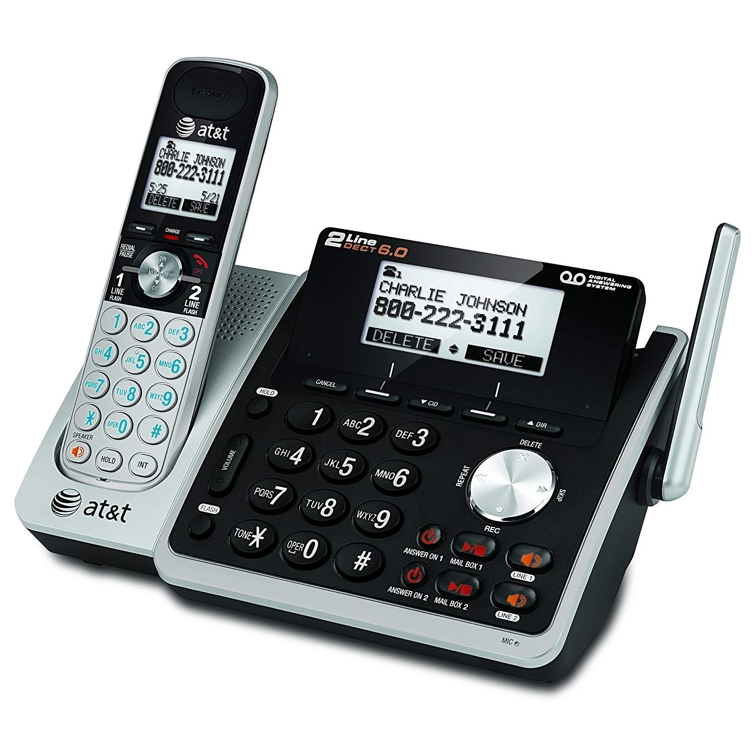 At&t TL88102 Cordless Digital Answering System, Base and 1 Handset, Black