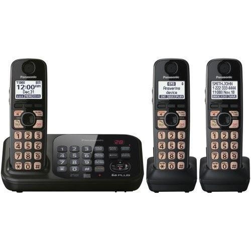 Panasonic KX-TG4743B DECT 6.0 Cordless Phone with Answering System, Black, 3 Handsets